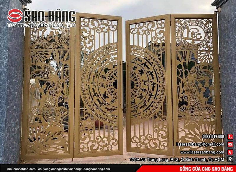 Cửa cổng CNC 2 cánh đẹp