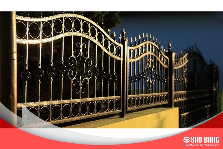 Mẫu Cổng Sắt Hàng Rào 2 Cánh Biệt Thự Hiện Đại